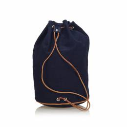 Hermes Blue Canvas Sac Polochon Mimile Drawstring Backpack 223832