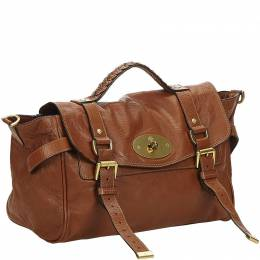 Mulberry Brown Leather Alexa Satchel 214375