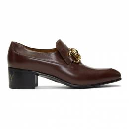 Gucci Burgundy Leather Horsebit Chain Loafers 192451M23101504GB