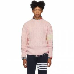 Thom Browne Pink Aran Cable 4-Bar Sweater MKA233A-00278
