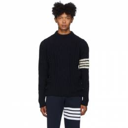 Thom Browne Navy Aran Cable 4-Bar Sweater MKA233A-00278