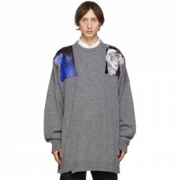 Raf Simons Grey Oversized Patches Sweater 192287M20103203GB