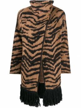 Liu Jo жаккардовый кардиган-пальто с тигровым принтом C69057MA75I
