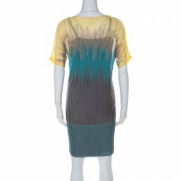 M Missoni Multicolor Knit Ombre Effect Short Sleeve Dress S 226877