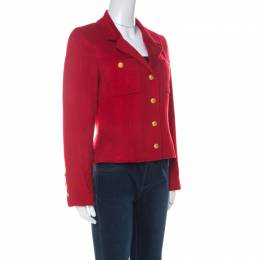 Chanel Boutique Vintage Red Cashmere Cropped Jacket M 226666