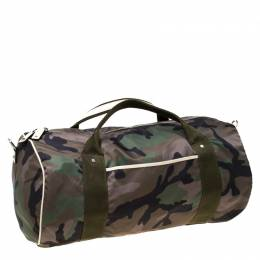 Valentino Green Camouflage Print Nylon Rockstud Duffle Bag 225767