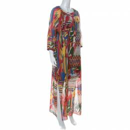 M Missoni Multicolor Printed Cotton Full Sleeve Kaftan Dress M 226941