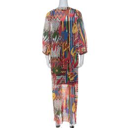 M Missoni Multicolor Printed Cotton Full Sleeve Kaftan Dress M 226941