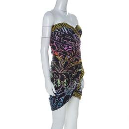Mathew Williamson Black and Neon Baroque Printed Silk Strapless Dress M Matthew Williamson 226700