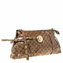 Gucci Brown GG Crystal Coated Canvas Large Hysteria Clutch 225485