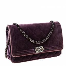 Chanel Purple Quilted Velvet and Leather Boy WOC Clutch Bag 224872