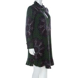 Marc By Marc Jacobs Green Wool & Silk Blend Peacock Paisley Print Short Dress L 226801