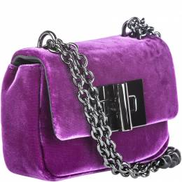 Tom Ford Purple Velvet Mini Natalia Chain Crossbody Bag 215011