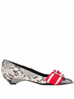 No. 21 туфли-лодочки с эффектом змеиной кожи 8355