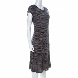 M Missoni Multicolor Striped Knit Short Sleeve Midi Dress L 227078