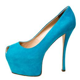 Guisuppe Zanotti Blue Suede Liza Peep Toe Platform Pumps Size 40 Giuseppe Zanotti Design 227077