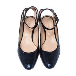 Nicholas Kirkwood Blue Sequins Lola Pearl Embellished Ankle Strap Sandals Size 40 226855