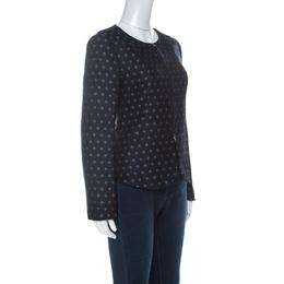 Armani Collezioni Navy Blue Spot-Jacquard Silk Blend Zip Front Jacket M