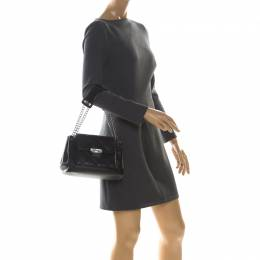 Chanel Black Quilted Leather Accordion Push Lock Flap Bag 225503