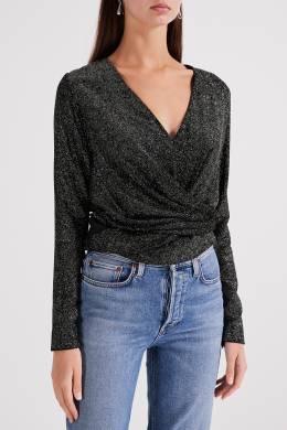 Блестящая черная блузка с завязками Izeta 2576152996