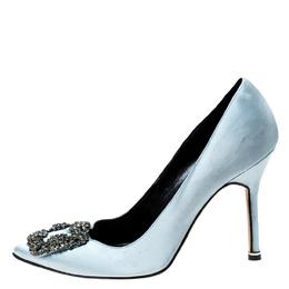 Manolo Blahnik Grey Satin Hangisi Crystal Embellished Pumps Size 37.5 227254