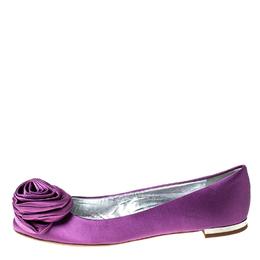 Giuseppe Zanotti Design Purple Satin Flower Detail Ballet Flats Size 36.5