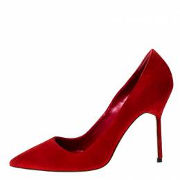 Manolo Blahnik Red Suede BB 70 Pointed Toe Pumps Size 37 227294