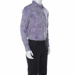 Etro Mauve Paisley Embroidered Cotton Long Sleeve Button Front Shirt L