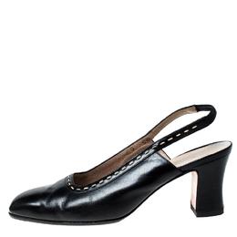 Salvatore Ferragamo Black Leather Slingback Sandals Size 37.5 226741