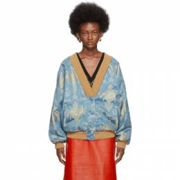 Gucci Blue and Gold Oversized Cardigan 595255 ZACH1