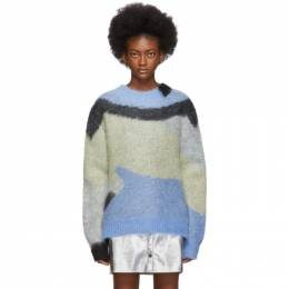 Ambush Blue Mohair Crewneck Sweater 192820F09600402GB
