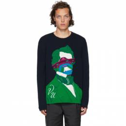Valentino Navy Undercover Edition V Face UFO Sweater SV0KC05X5QT