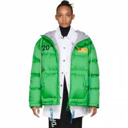 Off-White Green Down Scaffolding Zipped Puffer Jacket OMED019F19E150284010