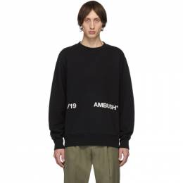Ambush Black Logo Crewneck Sweatshirt 192820M20400703GB