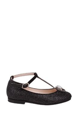 Черные туфли с блестками на девочку Il Gufo 1205153527