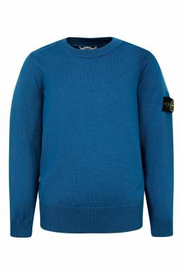 Синий вязаный свитер с нашивкой Stone Island Kids 1329153187
