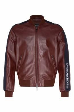 Бордовая куртка из кожи Emporio Armani 2706154051