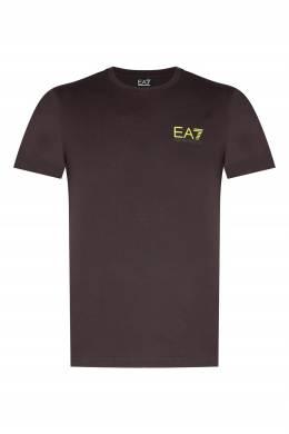 Серо-коричневая футболка с неоновым логотипом Ea7 2944154174