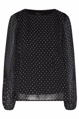 Черная плиссированная блузка в горошек Maje 888153549