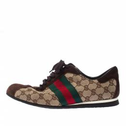 Gucci Beige/Brown GG Canvas And Suede Web Low Top Sneakers Size 43 227833