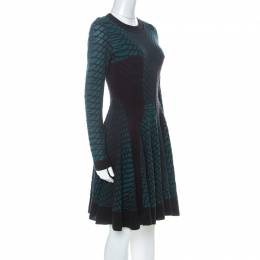 M Missoni Green Black and Purple Textured Knit Paneled Skater Dress M 227071
