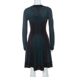 M Missoni Green Black and Purple Textured Knit Paneled Skater Dress M 227071
