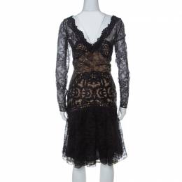 Zuhair Murad Black Embellished Lace and Tulle Short Flared Cocktail Dress M 227461