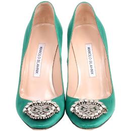 Manolo Blahnik Green Satin Okkaava Emerald Pumps Size 37 225190