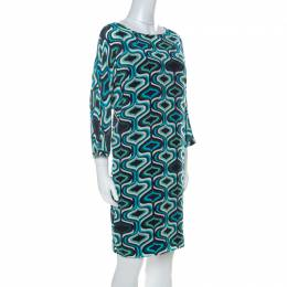 M Missoni Blue Printed Crepe De Chine Three Quarter Sleeve Shift Dress M 227456