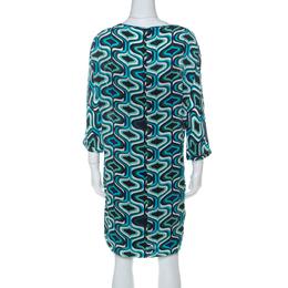 M Missoni Blue Printed Crepe De Chine Three Quarter Sleeve Shift Dress M 227456