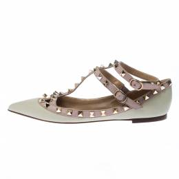 Valentino Green/Beige Leather Rockstud T Strap Ballet Flats Size 37 226715