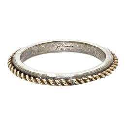 Ugo Cacciatori Gold and Silver Edge Cable Ring 192045M14700905GB