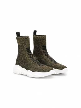 Moschino Kids высокие кроссовки-носки с логотипом 61823