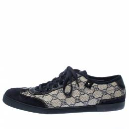 Gucci White/Blue GG Canvas And Suede Low Top Sneakers Size 42 227837